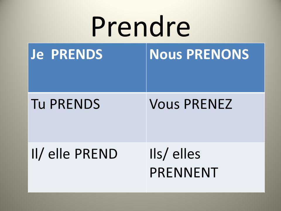 Prendre Je PRENDSNous PRENONS Tu PRENDSVous PRENEZ Il/ elle PRENDIls/ elles PRENNENT