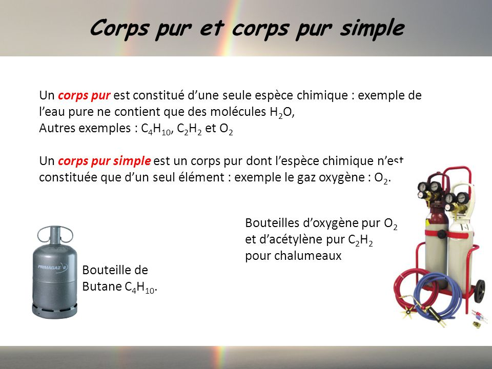 Corps pur et corps pur simple Un corps pur est constitué dune seule espèce chimique : exemple de leau pure ne contient que des molécules H 2 O, Autres exemples : C 4 H 10, C 2 H 2 et O 2 Un corps pur simple est un corps pur dont lespèce chimique nest constituée que dun seul élément : exemple le gaz oxygène : O 2.