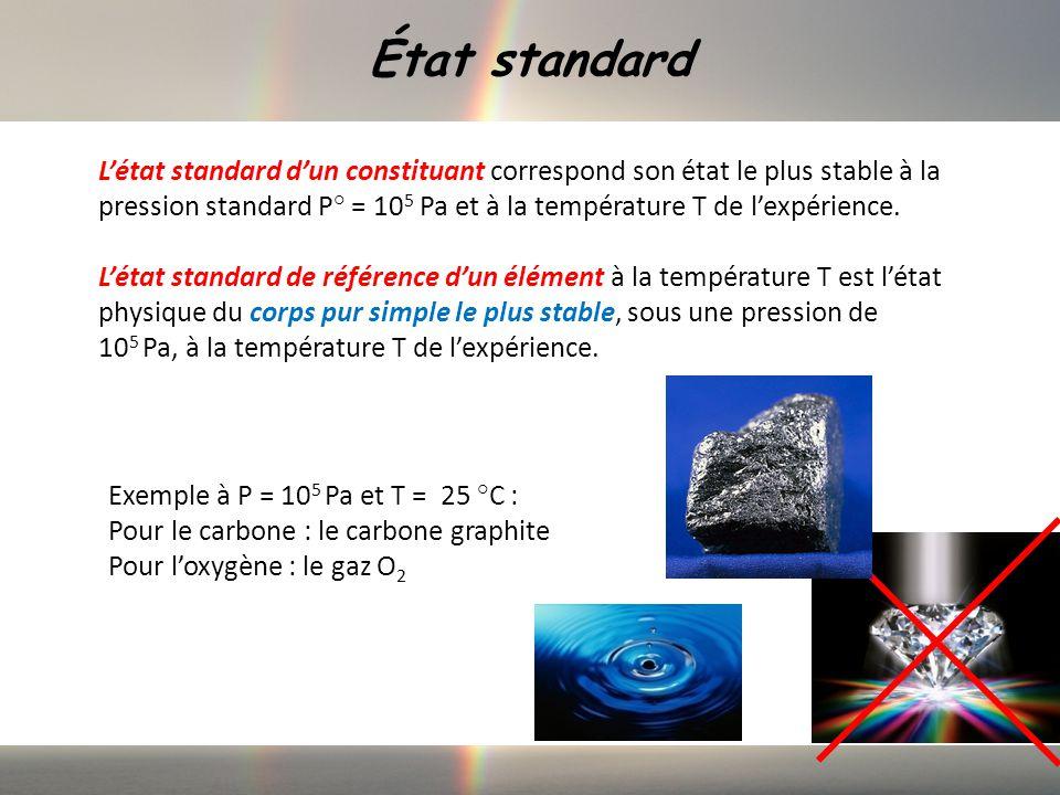 État standard Létat standard dun constituant correspond son état le plus stable à la pression standard P° = 10 5 Pa et à la température T de lexpérience.