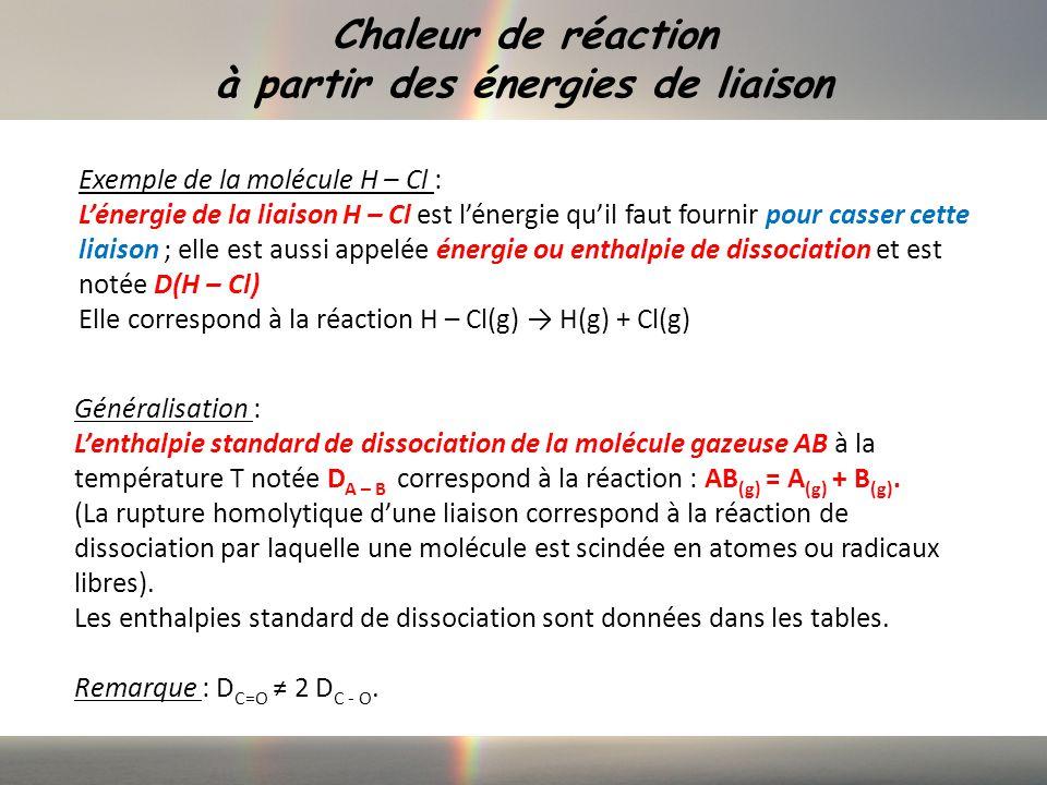 Chaleur de réaction à partir des énergies de liaison Généralisation : Lenthalpie standard de dissociation de la molécule gazeuse AB à la température T notée D A – B correspond à la réaction : AB (g) = A (g) + B (g).