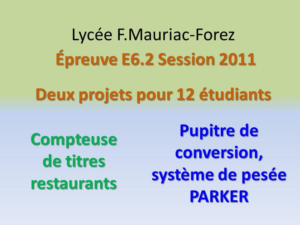 Lycée F.Mauriac-Forez Deux projets pour 12 étudiants Épreuve E6.2 Session 2011 Compteuse de titres restaurants Pupitre de conversion, système de pesée PARKER