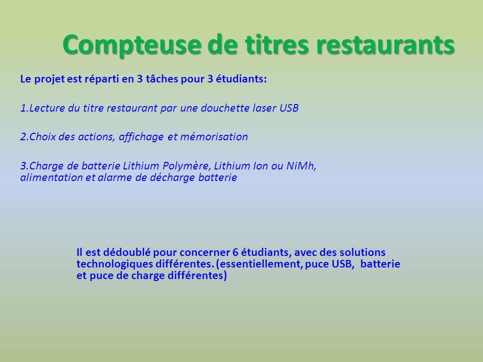 Compteuse de titres restaurants Le projet est réparti en 3 tâches pour 3 étudiants: 1.Lecture du titre restaurant par une douchette laser USB 2.Choix
