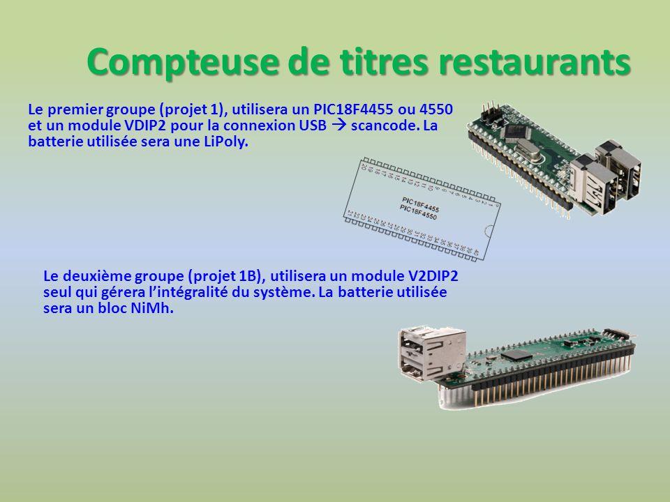 Compteuse de titres restaurants Le premier groupe (projet 1), utilisera un PIC18F4455 ou 4550 et un module VDIP2 pour la connexion USB scancode. La ba