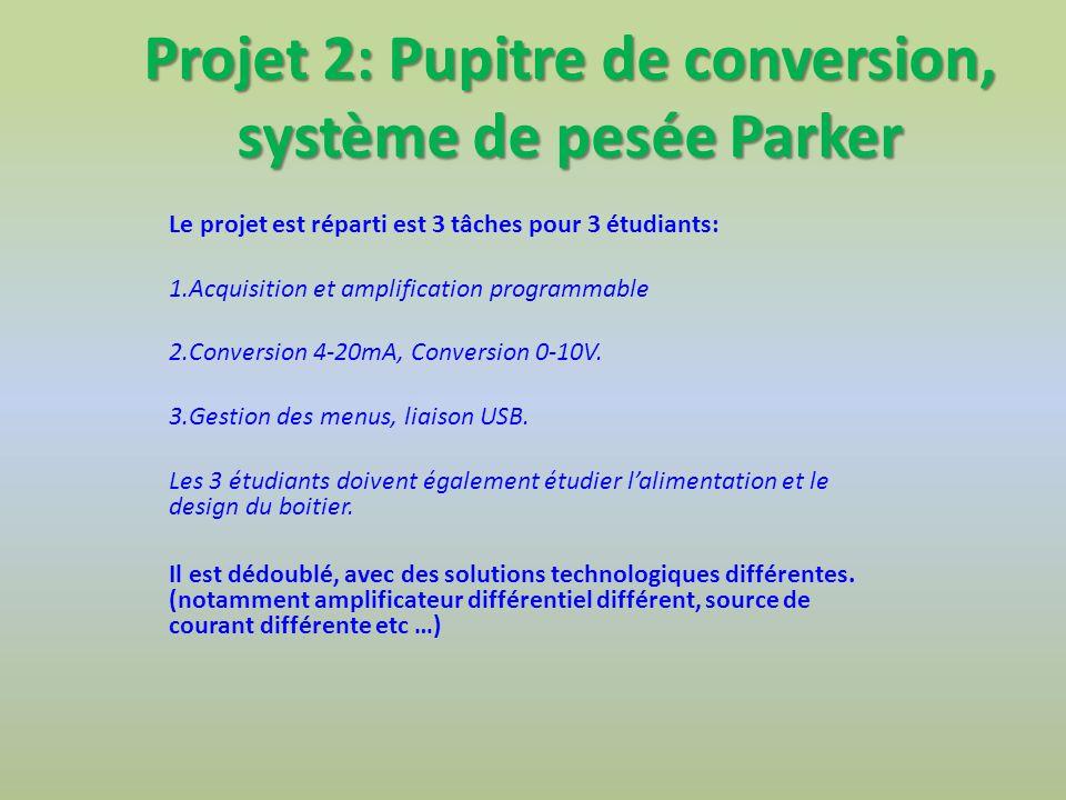 Projet 2: Pupitre de conversion, système de pesée Parker Le projet est réparti est 3 tâches pour 3 étudiants: 1.Acquisition et amplification programmable 2.Conversion 4-20mA, Conversion 0-10V.