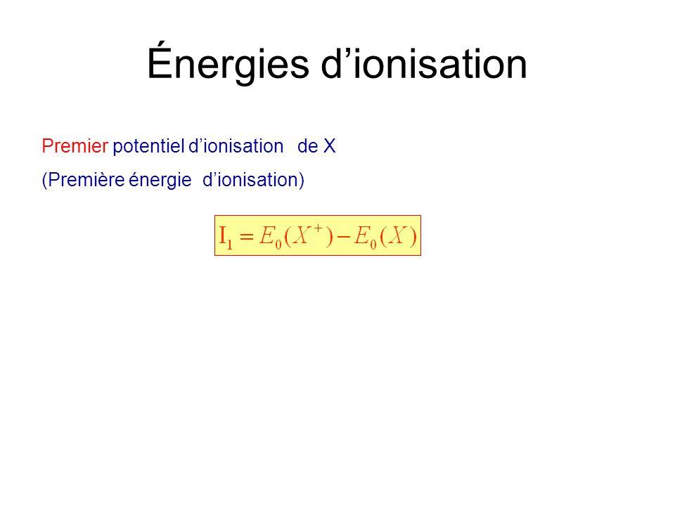 Énergies dionisation Premier potentiel dionisation de X (Première énergie dionisation)