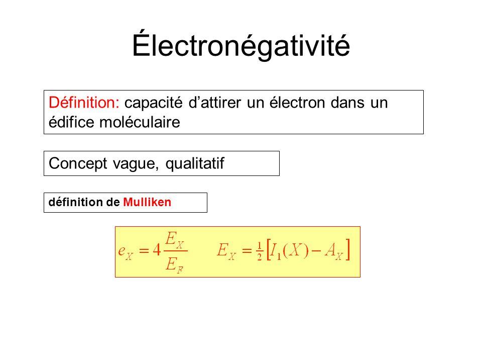 Électronégativité Définition: capacité dattirer un électron dans un édifice moléculaire Concept vague, qualitatif définition de Mulliken