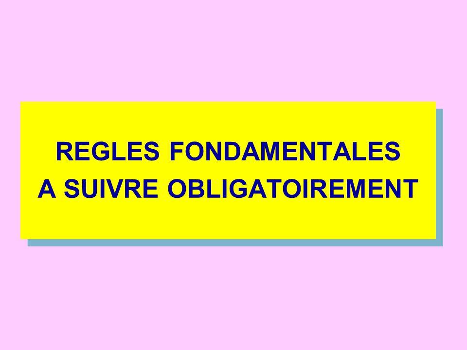 REGLES FONDAMENTALES A SUIVRE OBLIGATOIREMENT REGLES FONDAMENTALES A SUIVRE OBLIGATOIREMENT