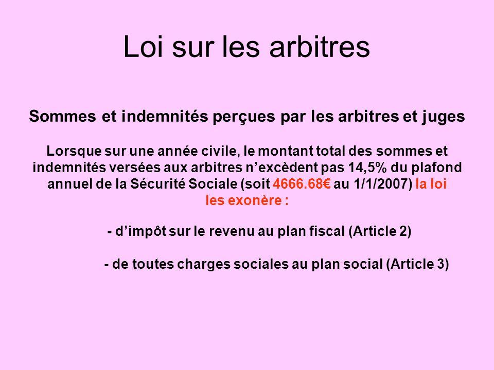 Loi sur les arbitres Sommes et indemnités perçues par les arbitres et juges Lorsque sur une année civile, le montant total des sommes et indemnités versées aux arbitres nexcèdent pas 14,5% du plafond annuel de la Sécurité Sociale (soit 4666.68 au 1/1/2007) la loi les exonère : - dimpôt sur le revenu au plan fiscal (Article 2) - de toutes charges sociales au plan social (Article 3)