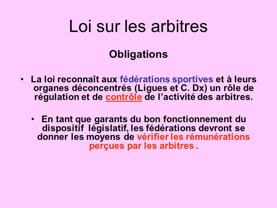 Loi sur les arbitres Obligations La loi reconnaît aux fédérations sportives et à leurs organes déconcentrés (Ligues et C. Dx) un rôle de régulation et