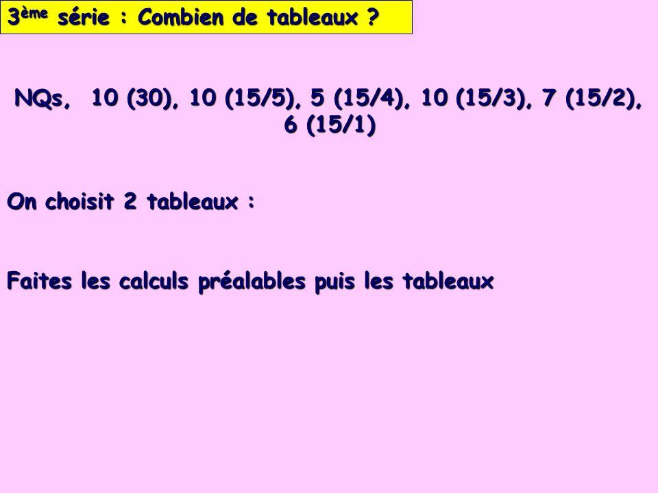 3 ème série : Combien de tableaux ? On choisit 2 tableaux : Faites les calculs préalables puis les tableaux NQs, 10 (30), 10 (15/5), 5 (15/4), 10 (15/