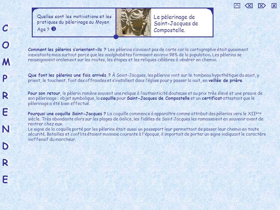 COMPRENDRECOMPRENDRE COMPRENDRECOMPRENDRE Quelles sont les motivations et les pratiques du pèlerinage au Moyen Age ? Le pèlerinage de Saint-Jacques de