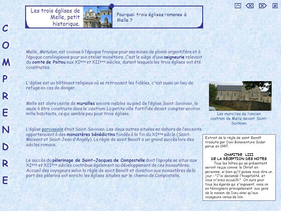 COMPRENDRECOMPRENDRE COMPRENDRECOMPRENDRE Les trois églises de Melle, petit historique.