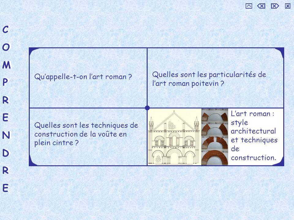 COMPRENDRECOMPRENDRE COMPRENDRECOMPRENDRE Quelles sont les techniques de construction de la voûte en plein cintre ? Quappelle-t-on lart roman ? Quelle
