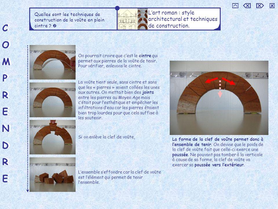 COMPRENDRECOMPRENDRE COMPRENDRECOMPRENDRE Quelles sont les techniques de construction de la voûte en plein cintre .