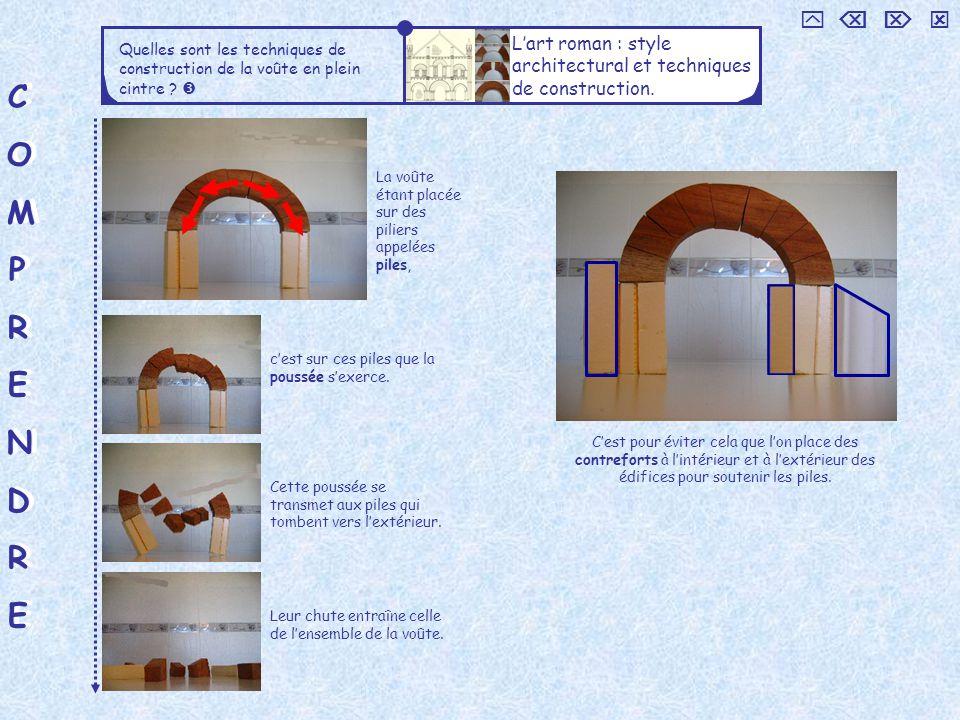 COMPRENDRECOMPRENDRE COMPRENDRECOMPRENDRE Quelles sont les techniques de construction de la voûte en plein cintre ? Lart roman : style architectural e
