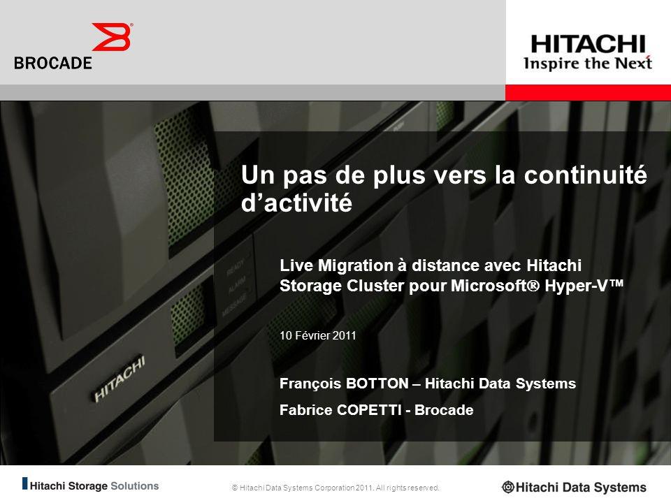 41 Ressources et Contacts Brocade Pour plus dinformations sur Live Migration Over Distance pour Hyper-V – http://www.brocade.com/downloads/documents/white_papers/Ref-Arch-Guide-Hyper- V-Live-Migration-Dist.pdfhttp://www.brocade.com/downloads/documents/white_papers/Ref-Arch-Guide-Hyper- V-Live-Migration-Dist.pdf –http://www.brocade.com/downloads/documents/solution_briefs/Taking-Disaster- Recovery-to-the-Next-Level.pdfhttp://www.brocade.com/downloads/documents/solution_briefs/Taking-Disaster- Recovery-to-the-Next-Level.pdf Pour plus dinformations sur le partenariat Brocade/Hitachi Data Systems : –http://www.brocade.com/partnerships/oems/hds/index.pagehttp://www.brocade.com/partnerships/oems/hds/index.page Pour contacter Brocade France : 01.41.90.31.10 Présentateur du jour : –Fabrice COPETTI, Ingénieur Avant-Vente, fcopetti@brocade.com