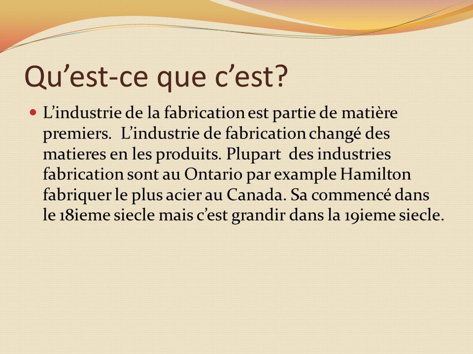Quest-ce que cest. Lindustrie de la fabrication est partie de matière premiers.