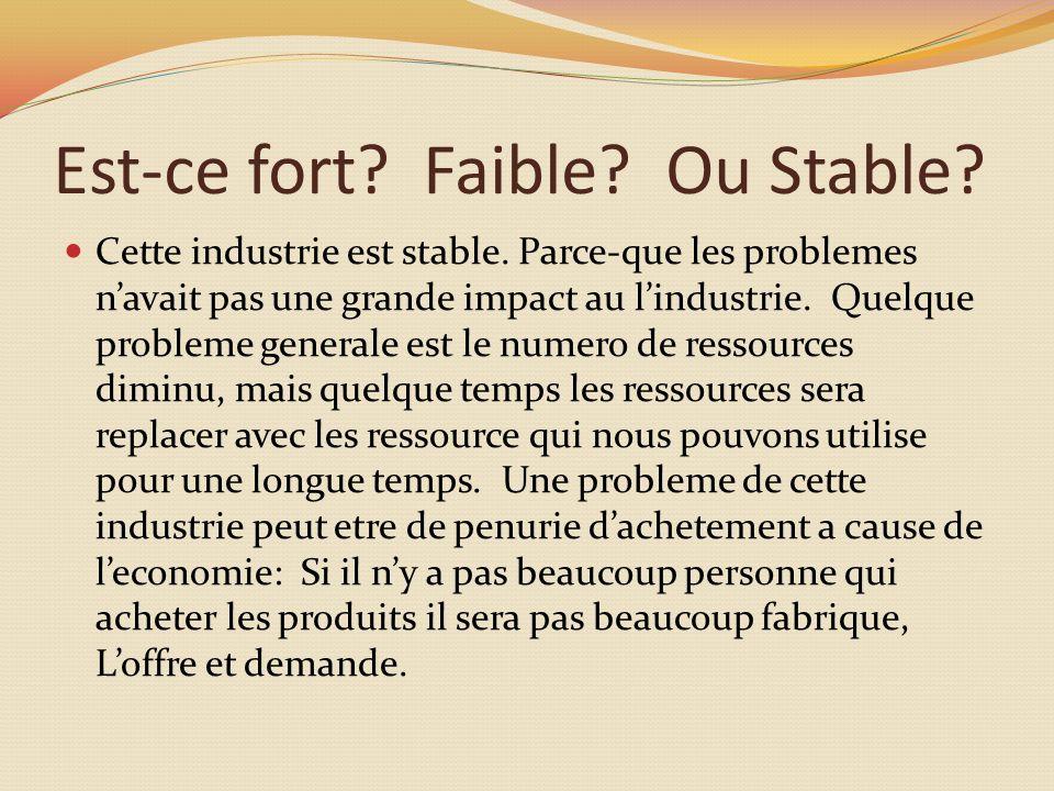 Est-ce fort. Faible. Ou Stable. Cette industrie est stable.