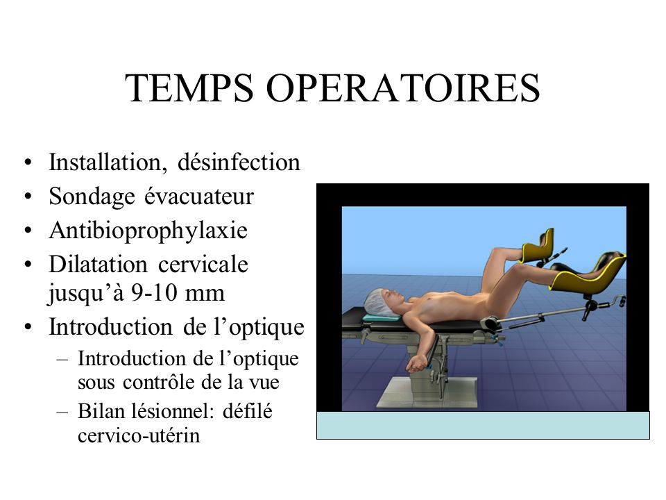 TEMPS OPERATOIRES Installation, désinfection Sondage évacuateur Antibioprophylaxie Dilatation cervicale jusquà 9-10 mm Introduction de loptique –Intro