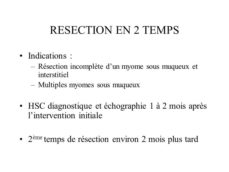 RESECTION EN 2 TEMPS Indications : –Résection incomplète dun myome sous muqueux et interstitiel –Multiples myomes sous muqueux HSC diagnostique et éch