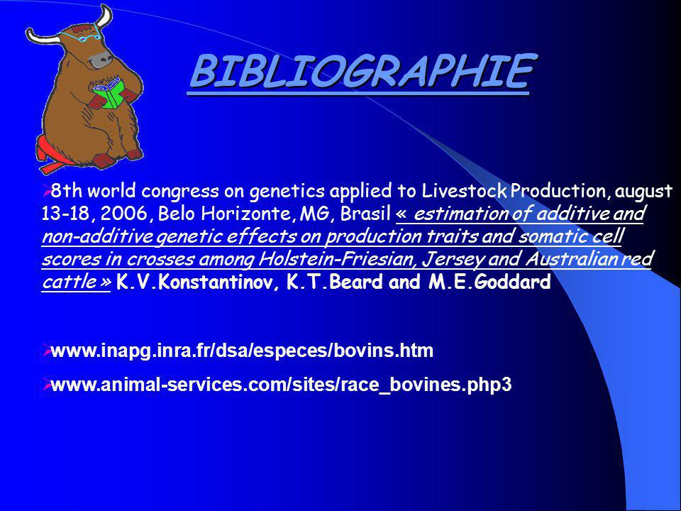 BIBLIOGRAPHIE 8th world congress on genetics applied to Livestock Production, august 13-18, 2006, Belo Horizonte, MG, Brasil « estimation of additive and non-additive genetic effects on production traits and somatic cell scores in crosses among Holstein-Friesian, Jersey and Australian red cattle » K.V.Konstantinov, K.T.Beard and M.E.Goddard www.inapg.inra.fr/dsa/especes/bovins.htm www.animal-services.com/sites/race_bovines.php3