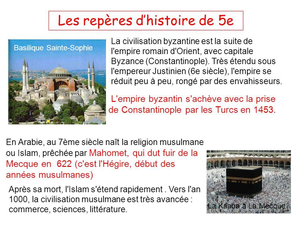 Les repères dhistoire de 5e La civilisation byzantine est la suite de l empire romain d Orient, avec capitale Byzance (Constantinople).