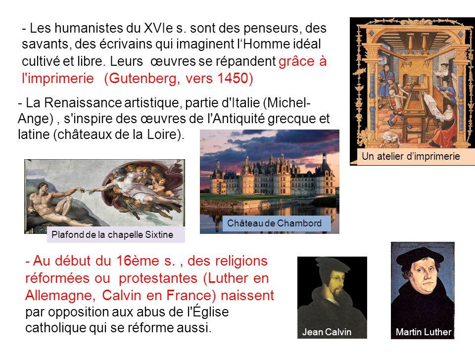 - Les humanistes du XVIe s.