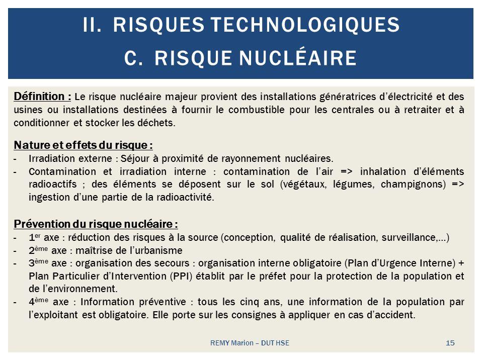 II.RISQUES TECHNOLOGIQUES REMY Marion – DUT HSE 15 C.RISQUE NUCLÉAIRE Définition : Le risque nucléaire majeur provient des installations génératrices