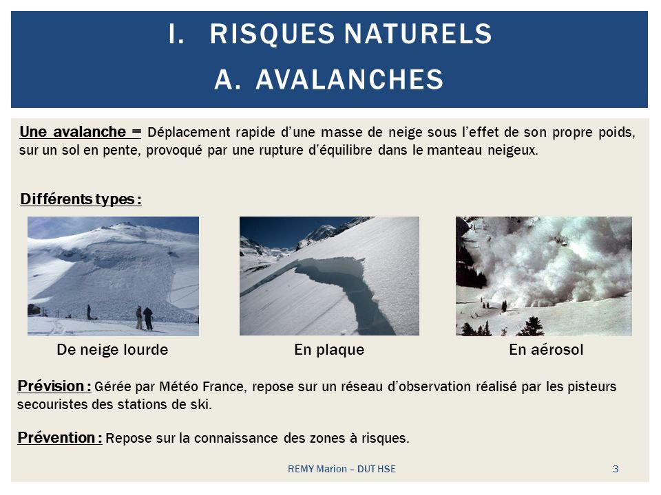 I.RISQUES NATURELS REMY Marion – DUT HSE 3 A.AVALANCHES Une avalanche = Déplacement rapide dune masse de neige sous leffet de son propre poids, sur un