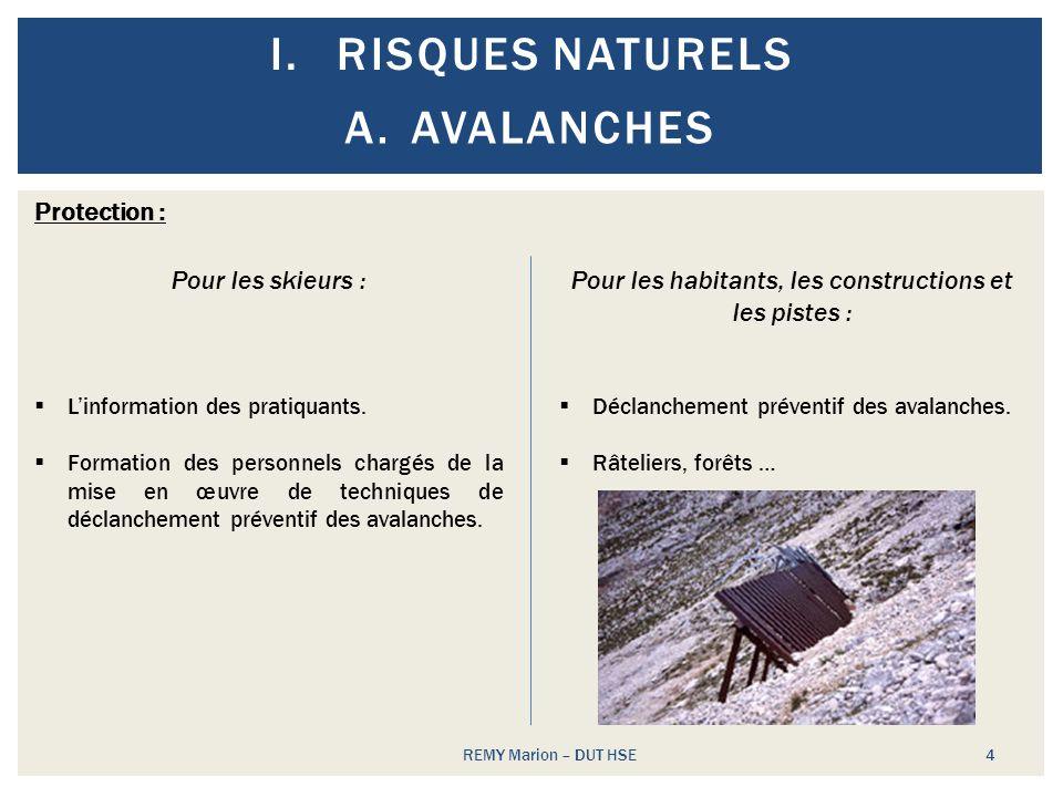 I.RISQUES NATURELS REMY Marion – DUT HSE 4 A.AVALANCHES Protection : Pour les skieurs : Linformation des pratiquants. Formation des personnels chargés