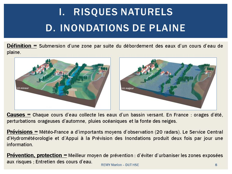 I.RISQUES NATURELS REMY Marion – DUT HSE 8 D.INONDATIONS DE PLAINE Définition = Submersion dune zone par suite du débordement des eaux dun cours deau