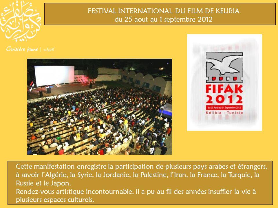 FESTIVAL INTERNATIONAL DU FILM DE KELIBIA du 25 aout au 1 septembre 2012 Cette manifestation enregistre la participation de plusieurs pays arabes et étrangers, à savoir lAlgérie, la Syrie, la Jordanie, la Palestine, lIran, la France, la Turquie, la Russie et le Japon.