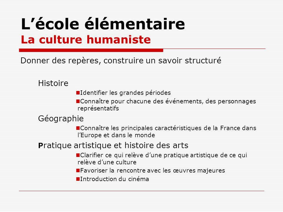 Lécole élémentaire La culture humaniste Donner des repères, construire un savoir structuré Histoire Identifier les grandes périodes Connaître pour cha