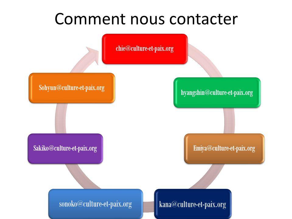 Comment nous contacter chie@culture-et-paix.org hyangshin@culture-et-paix.org Emiya@culture-et-paix.org kana@culture-et-paix.org sonoko@culture-et-pai