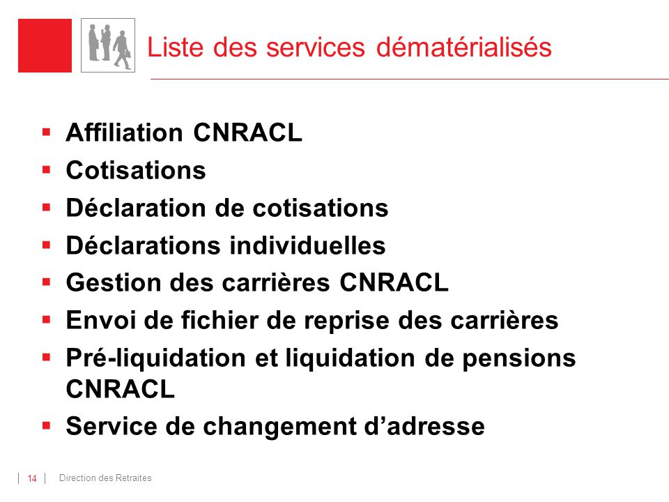 Direction des Retraites 14 Liste des services dématérialisés Affiliation CNRACL Cotisations Déclaration de cotisations Déclarations individuelles Gest