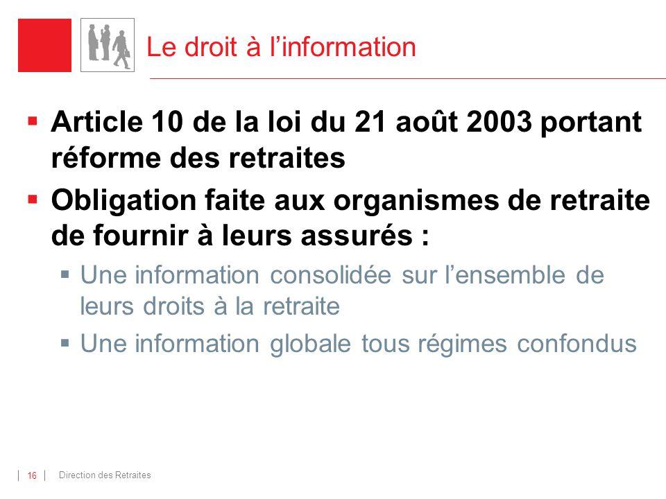 Direction des Retraites 16 Le droit à linformation Article 10 de la loi du 21 août 2003 portant réforme des retraites Obligation faite aux organismes