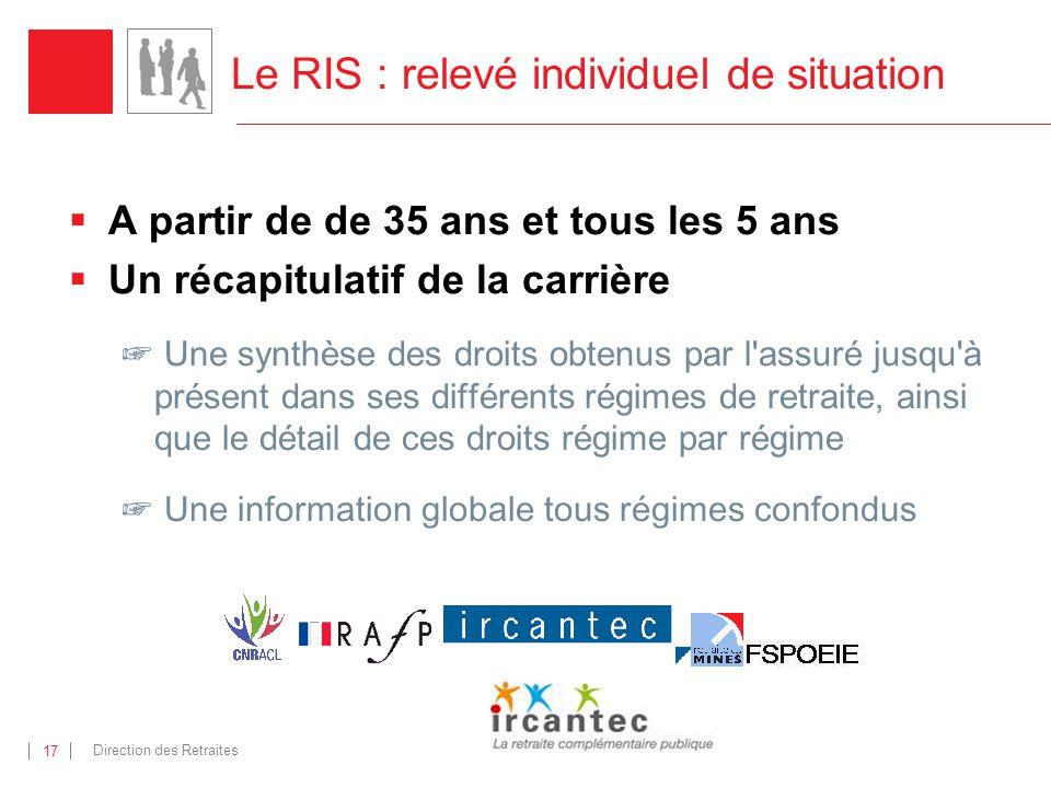 Direction des Retraites 17 Le RIS : relevé individuel de situation A partir de de 35 ans et tous les 5 ans Un récapitulatif de la carrière Une synthès