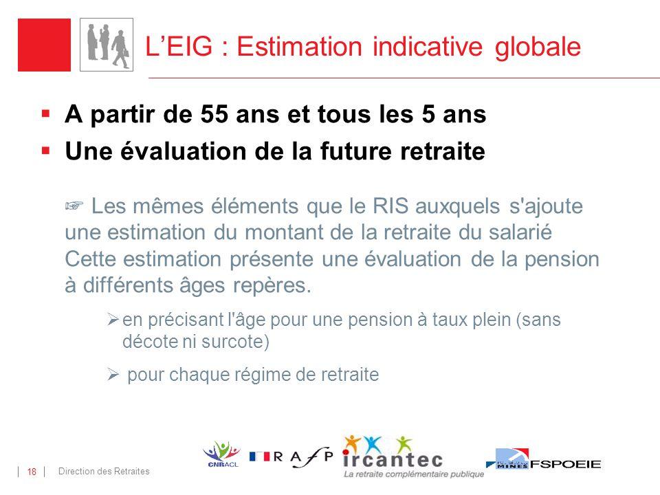 Direction des Retraites 18 LEIG : Estimation indicative globale A partir de 55 ans et tous les 5 ans Une évaluation de la future retraite Les mêmes él
