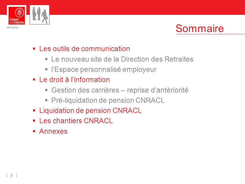 Sommaire 3 Les outils de communication Le nouveau site de la Direction des Retraites lEspace personnalisé employeur Le droit à linformation Gestion de