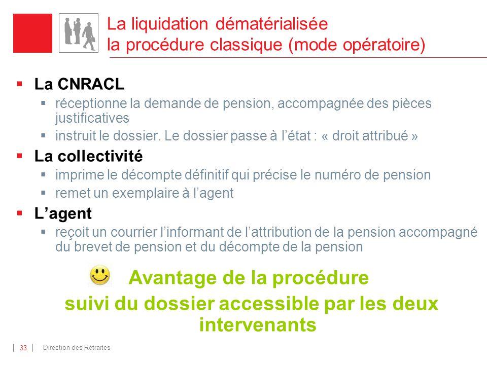 Direction des Retraites 33 La CNRACL réceptionne la demande de pension, accompagnée des pièces justificatives instruit le dossier. Le dossier passe à