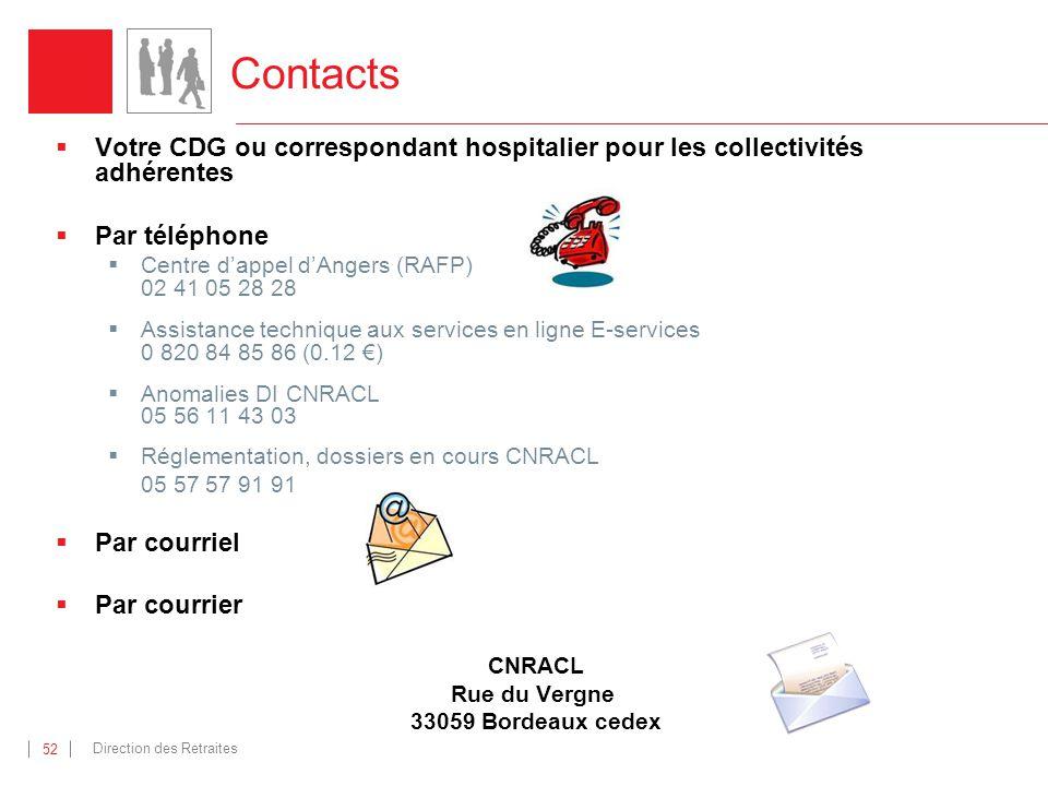 Direction des Retraites 52 Contacts Votre CDG ou correspondant hospitalier pour les collectivités adhérentes Par téléphone Centre dappel dAngers (RAFP) 02 41 05 28 28 Assistance technique aux services en ligne E-services 0 820 84 85 86 (0.12 ) Anomalies DI CNRACL 05 56 11 43 03 Réglementation, dossiers en cours CNRACL 05 57 57 91 91 Par courriel Par courrier CNRACL Rue du Vergne 33059 Bordeaux cedex