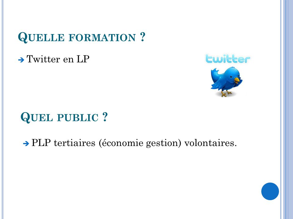 Q UELLE FORMATION ? Twitter en LP Q UEL PUBLIC ? PLP tertiaires (économie gestion) volontaires.