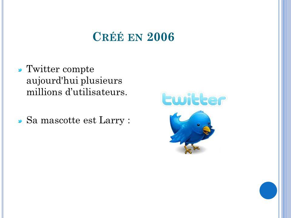 C RÉÉ EN 2006 Twitter compte aujourd'hui plusieurs millions dutilisateurs. Sa mascotte est Larry :