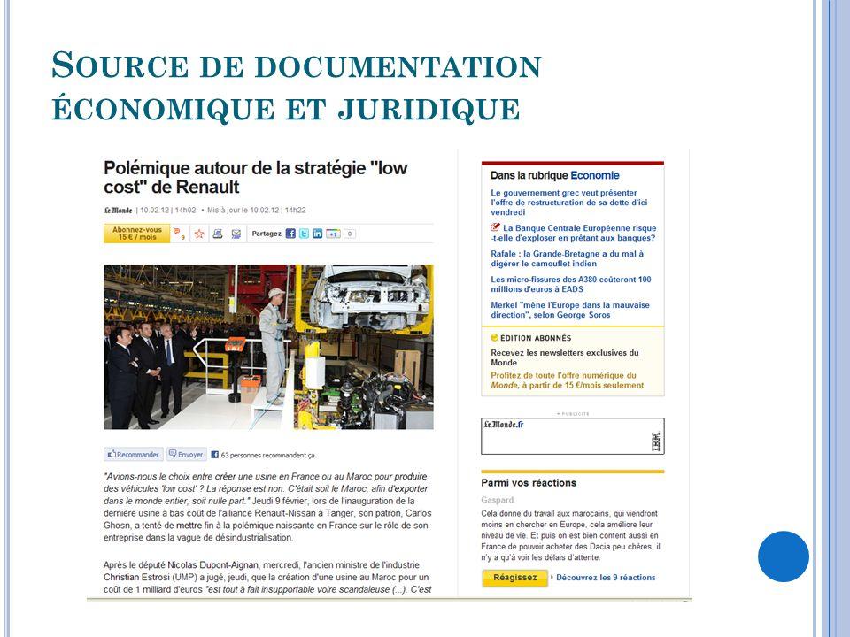 S OURCE DE DOCUMENTATION ÉCONOMIQUE ET JURIDIQUE