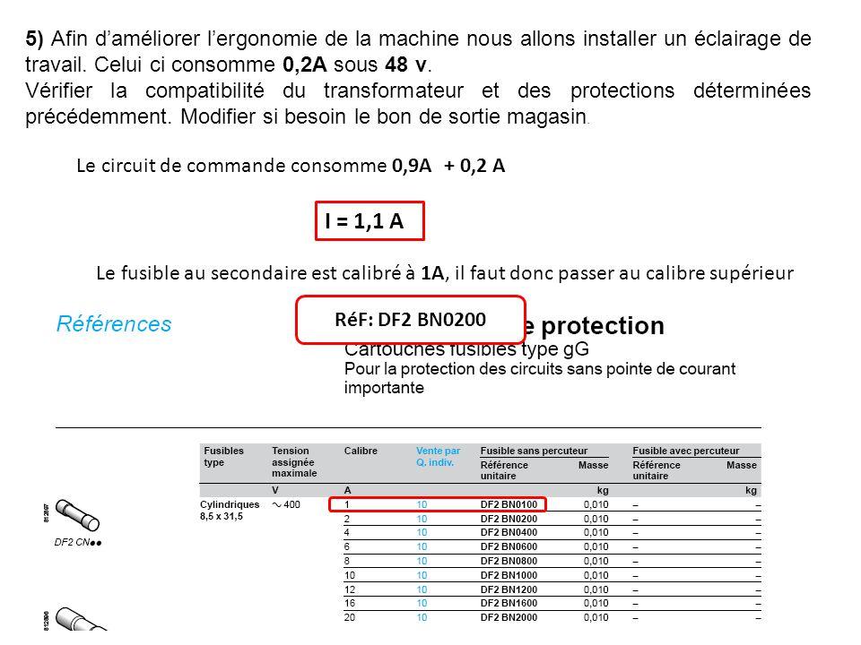 5) Afin daméliorer lergonomie de la machine nous allons installer un éclairage de travail. Celui ci consomme 0,2A sous 48 v. Vérifier la compatibilité