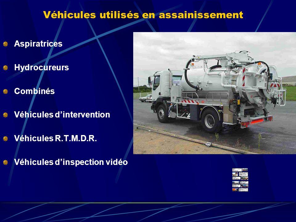 Véhicules utilisés en assainissement Aspiratrices Hydrocureurs Combinés Véhicules dintervention Véhicules R.T.M.D.R. Véhicules dinspection vidéo