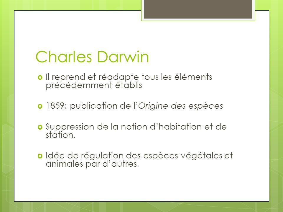 Charles Darwin Il reprend et réadapte tous les éléments précédemment établis 1859: publication de lOrigine des espèces Suppression de la notion dhabit