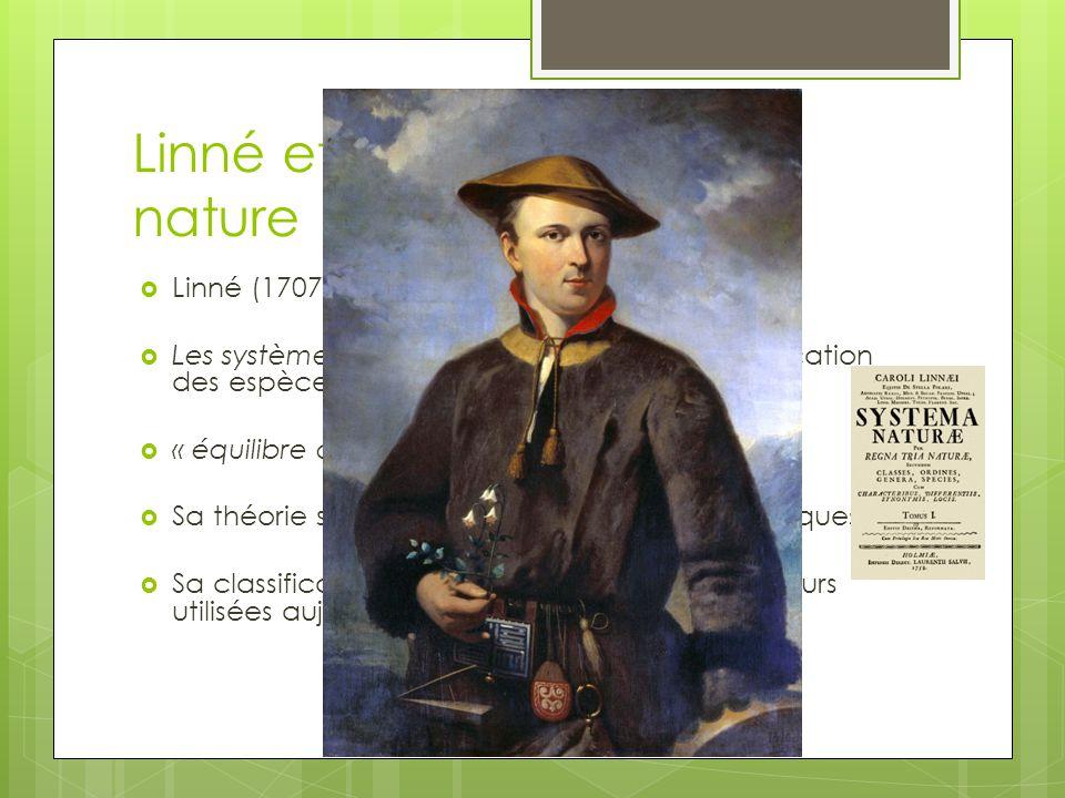 Linné et léconomie de la nature Linné (1707-1778): naturaliste suédois Les systèmes de la nature: ouvrage de classification des espèces végétales, ani