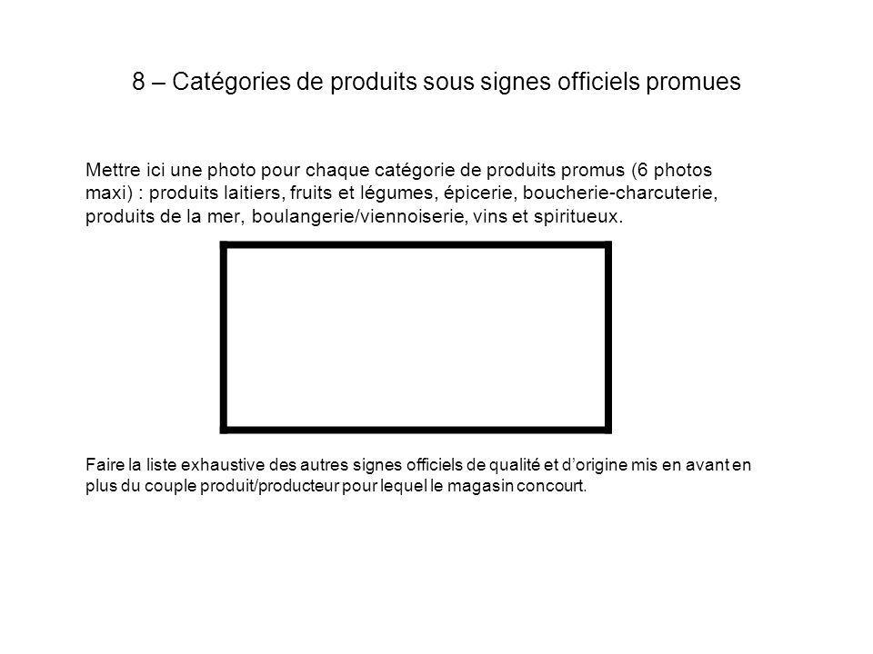8 – Catégories de produits sous signes officiels promues Mettre ici une photo pour chaque catégorie de produits promus (6 photos maxi) : produits lait