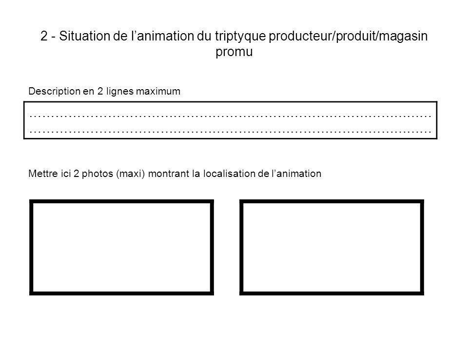 2 - Situation de lanimation du triptyque producteur/produit/magasin promu Description en 2 lignes maximum Mettre ici 2 photos (maxi) montrant la localisation de lanimation …………………………………………………………………………………